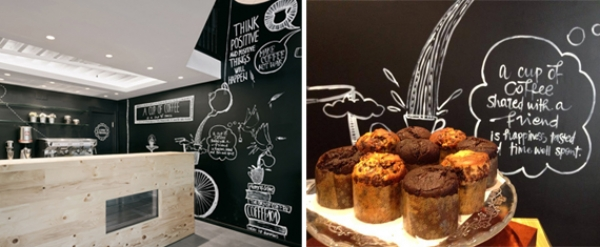 Stock Coffee y su mural, diseño casual y divertido